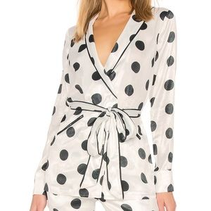 House of Harlow 1960 ARTHUR TOP IN DOT PRINT